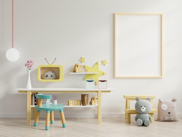 Mock up poster all'interno della stanza del bambino.