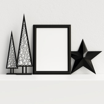 Mock up poster frame decorazione scandinava invernale di natale