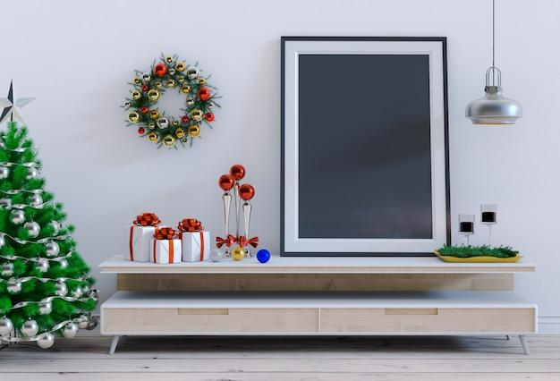 Mock up poster frame stanza interna di natale. rendering 3d