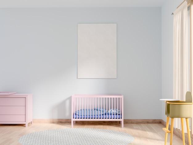 Mock up poster in camera da letto del bambino.