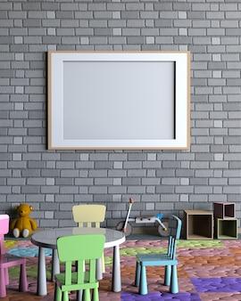 Mock up poster interno con la stanza dei bambini.