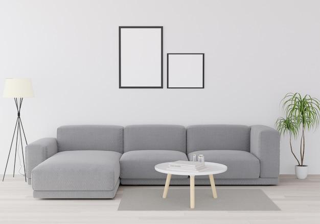 Mock up poster minimalismo loft sfondo interno, in legno