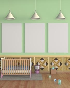 Mock up poster nella stanza del bambino