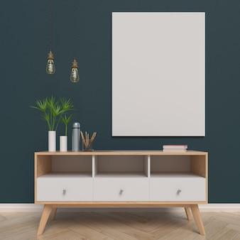 Mock up poster sul retro del cabinet, rendering 3d