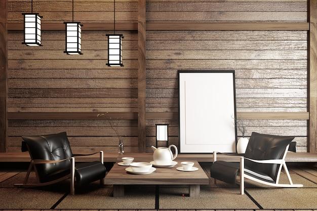 Mock up, progettato specificamente in stile giapponese, stanza vuota. rendering 3d