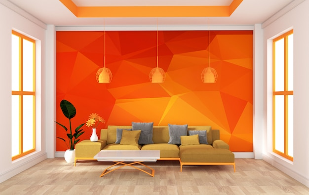 Mock up wall in room modern orange style. rendering 3d