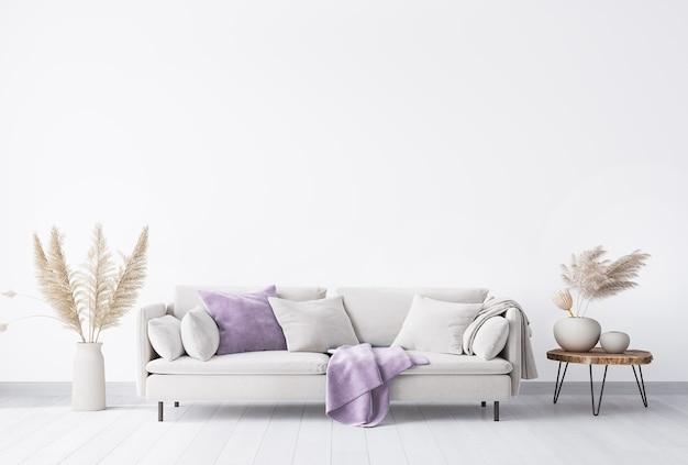 Mock up wall in un luminoso soggiorno moderno