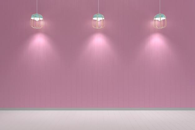 Mockup della lampada di struttura del fondo del pavimento di legno bianco della parete rosa pastello