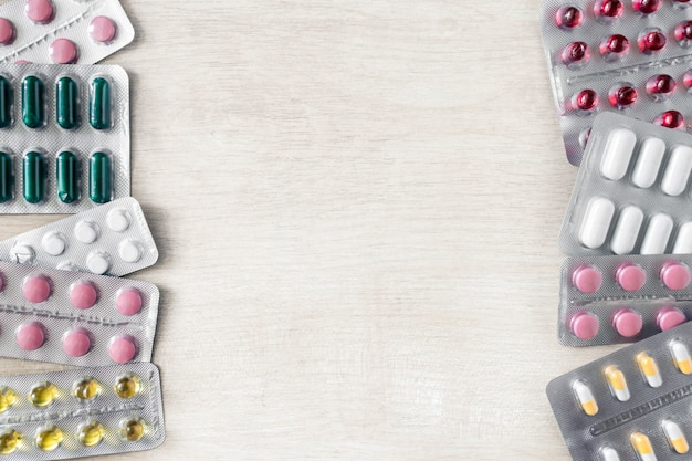 Mockup della medicina delle pillole degli antibiotici dei prodotti farmaceutici