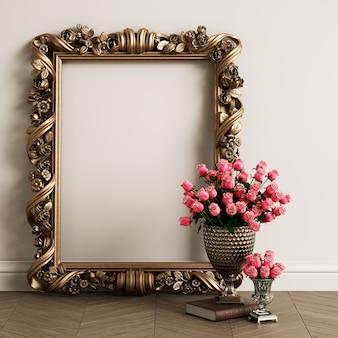 Mockup di cornice specchio classico intagliato con spazio di copia