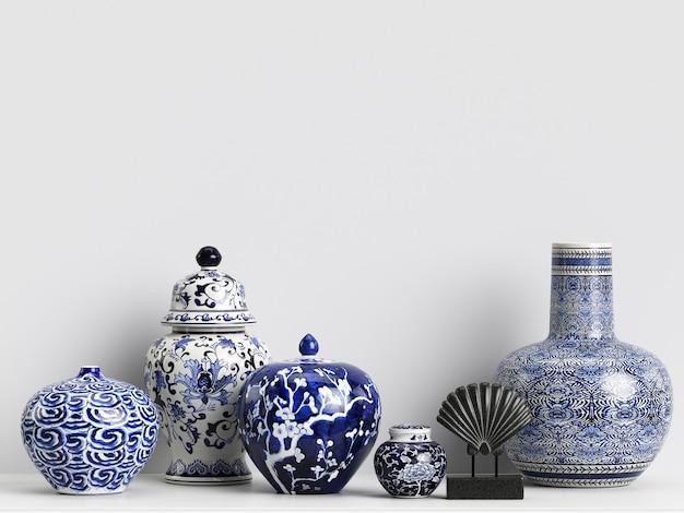 Mockup di decorazioni interne con vasi di zenzero cinese e coralli