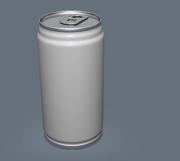 Mockup di lattina di alluminio vuoto su sfondo chiaro.