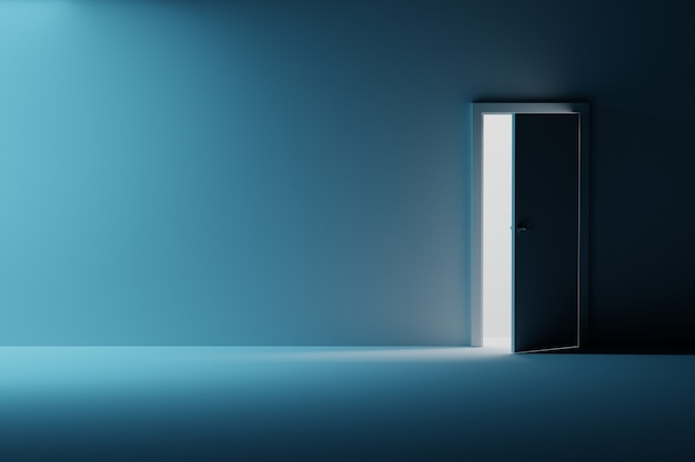 Mockup di parete stanza vuota con la porta aperta