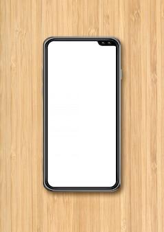 Mockup di smartphone in bianco moderno su sfondo scrivania in legno. rendering 3d