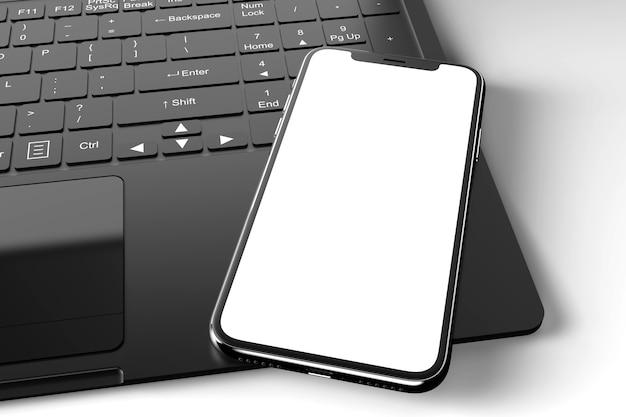 Mockup di uno smartphone moderno su un computer portatile