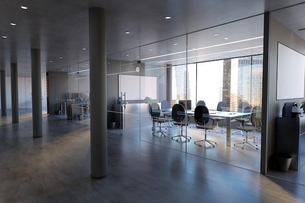 Mockup di vetro della parete della stanza dell'ufficio - rappresentazione 3d