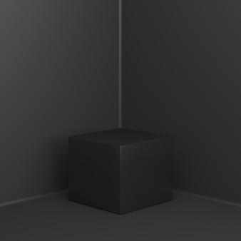 Mockup di visualizzazione del podio della scatola di vendita venerdì nero, rendering 3d
