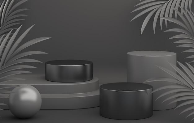 Mockup di visualizzazione del podio di vendita venerdì nero con cilindro e foglie di palma, rendering 3d