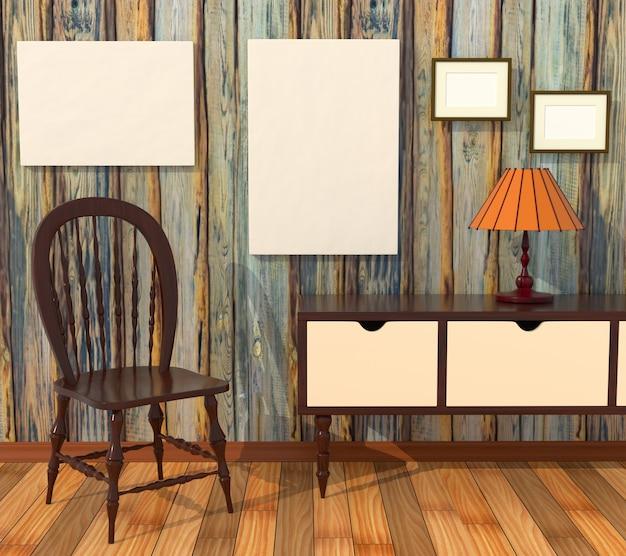 Mockup interno armadietto. quadri con una tela bianca