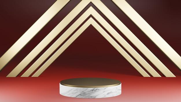 Mockup piedistallo a forma di cilindro in marmo bianco e oro con decorazioni in oro su sfondo rosso, rendering 3d