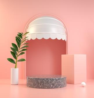 Mockup podio in marmo nero sulla scena rosa con porta sul tetto e rendering 3d di piante