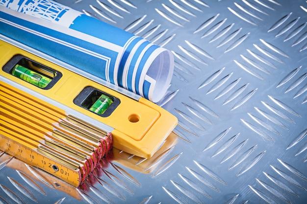Modelli laminati blu del tester di legno del livello di costruzione