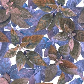 Modello a base di erbe viola senza cuciture disegnato a mano dell'acquerello.