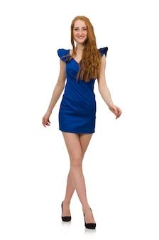 Modello alto in abito blu isolato