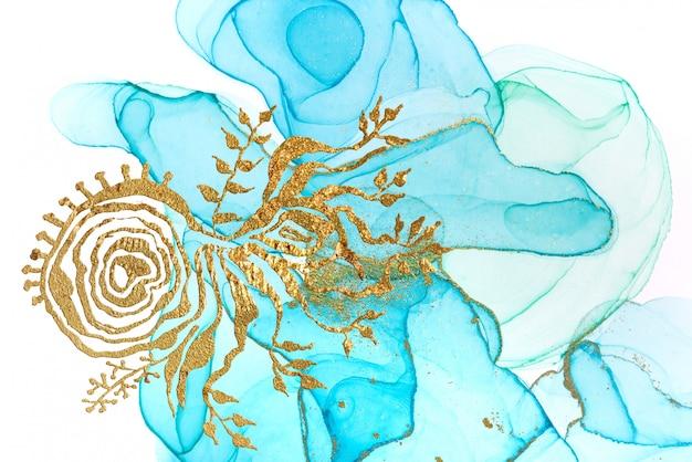 Modello astratto blu con motivo astratto dorato. struttura dell'acquerello in stile oceano.