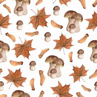 Modello autunnale dipinto a mano di funghi e foglie