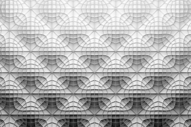 Modello bianco con wireframe complesso sopra la superficie ondulata bianca