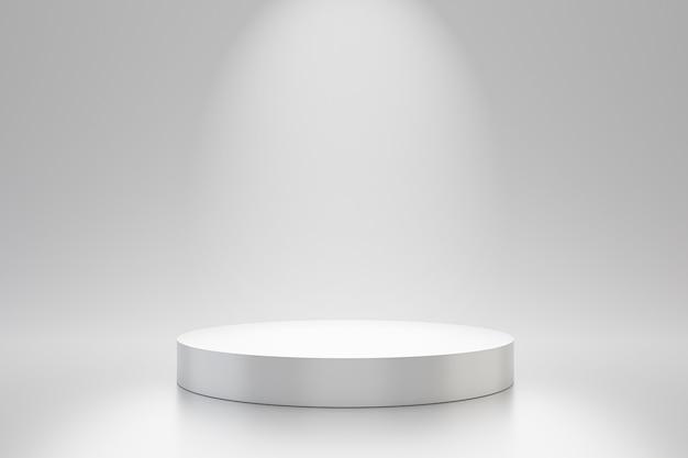 Modello bianco dello studio e piedistallo di forma rotonda sulla parete semplice con lo scaffale del prodotto del riflettore. podio da studio in bianco per la pubblicità. rendering 3d.