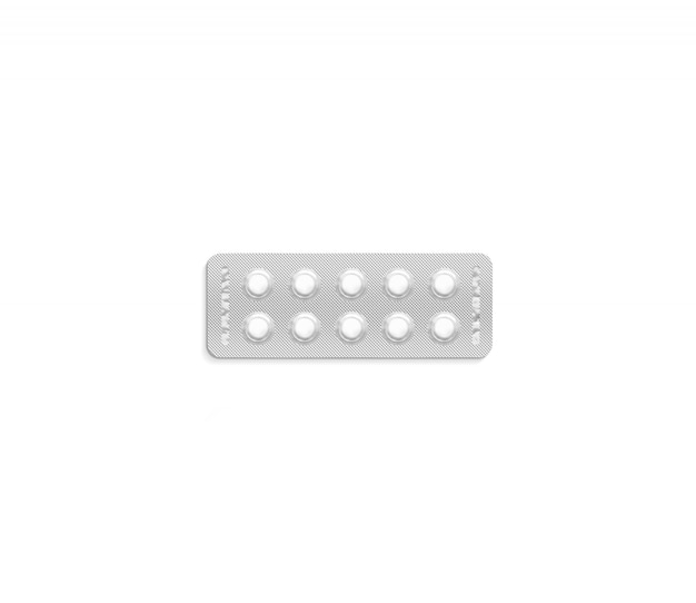 Modello bianco in bianco del pacchetto della pillola, isolato