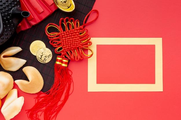Modello cinese della carta del nuovo anno con i biscotti di fortuna