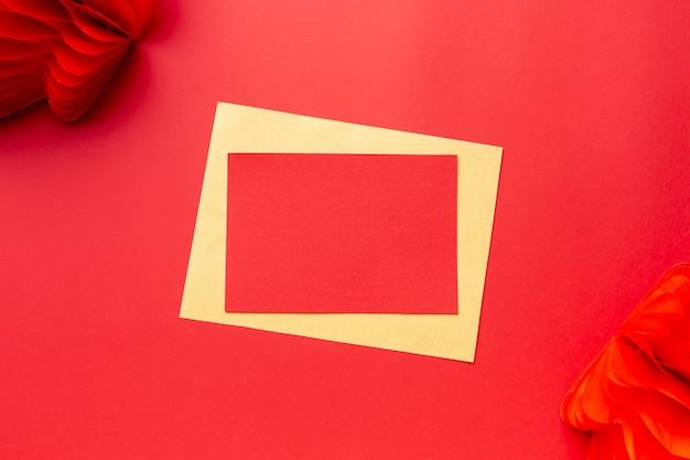 Modello cinese di carta del nuovo anno con la lanterna
