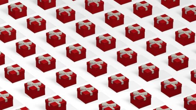 Modello con molti contenitori di regalo rossi allineati nelle file.