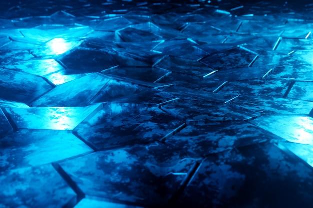 Modello d'ardore nero e blu del fondo degli esagoni sulla rappresentazione strutturata della superficie metallica 3d
