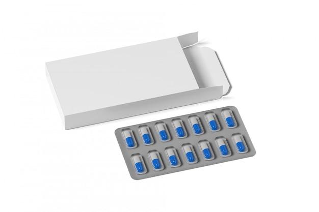 Modello d'imballaggio farmaceutico - rappresentazione 3d