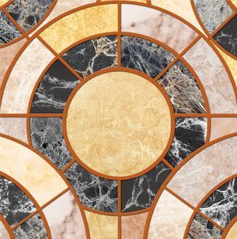 Modello del cerchio delle mattonelle della superficie del primo piano dalla miscela del fondo di struttura del pavimento della pietra del marmo di colore