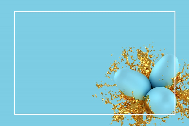 Modello della cartolina d'auguri di pasqua o illustrazione della carta di pubblicità 3d