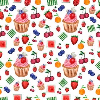 Modello di acquerello dipinto insieme di frutti e bacche e cupcake.