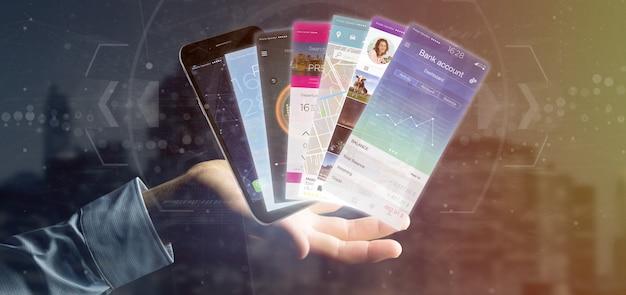 Modello di applicazione mobile della tenuta dell'uomo d'affari su una rappresentazione dello smartphone 3d