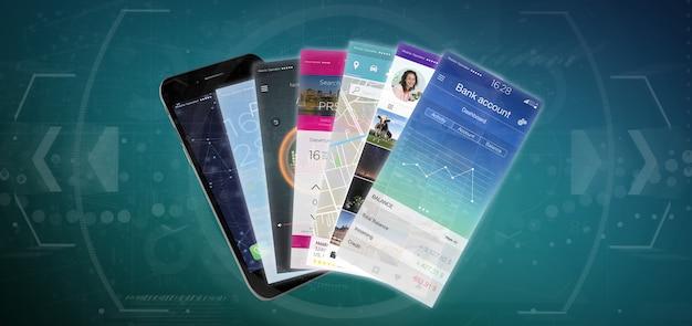 Modello di applicazione mobile sul rendering di smartphone 3d
