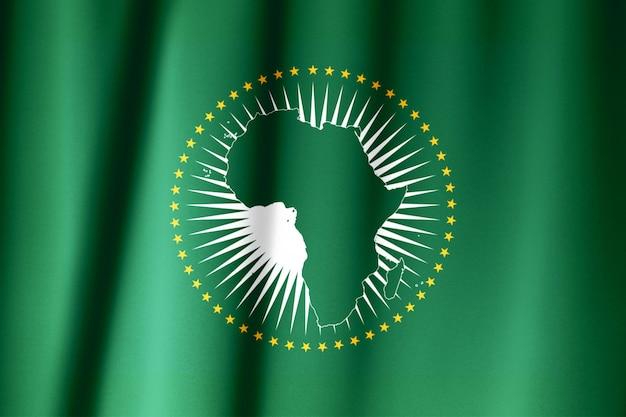 Modello di bandiera dell'unione africana sulla trama del tessuto