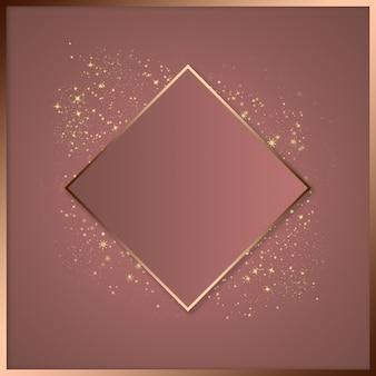 Modello di bellezza per pubblicità, spazio per il testo, cornice quadrata dorata, polvere luminosa