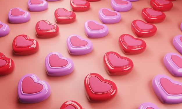 Modello di caramelle colorate con sfondo rosa. illustrazione 3d