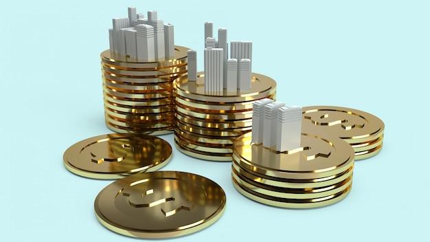Modello di costruzione e monete d'oro per il contenuto della proprietà.