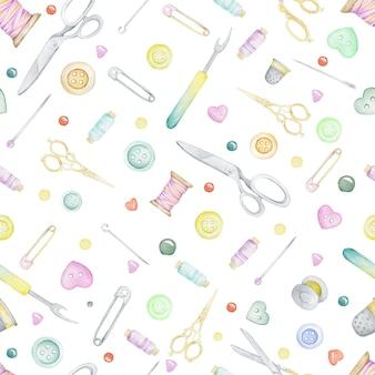 Modello di cucito senza soluzione di continuità. forbici, filo, bobina, spille, aghi, bottoni. acquerello disegnato a mano