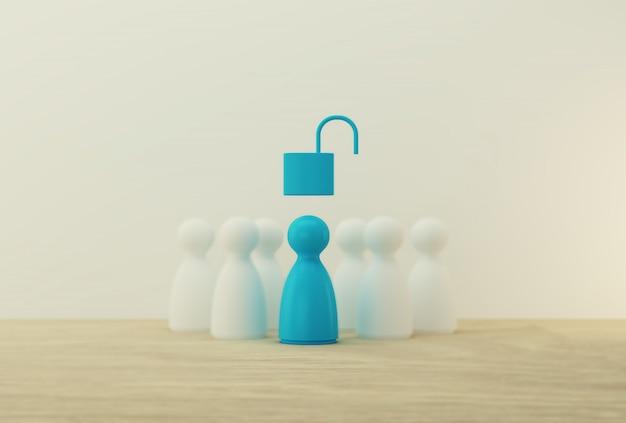 Modello di gente blu con sblocco a chiave eccezionale fuori dalla folla. risorse umane, gestione dei talenti, leader del team aziendale di successo.