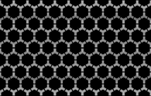 Modello di linea esagono bianco moderno senza cuciture sulla priorità bassa nera della parete.